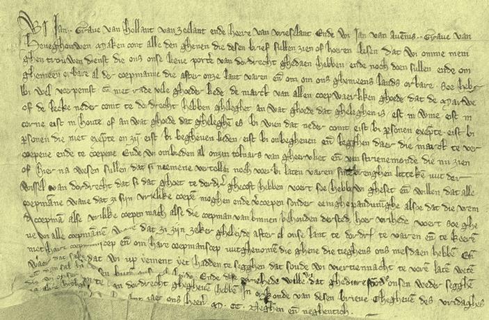 Perkament over Dordrecht als belangrijkste stad van Holland